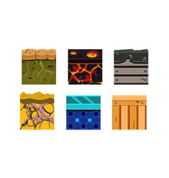 Flat set of 6 seamless textures for online vector