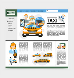flat taxi service website concept vector image