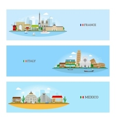France Italy and Mexico skyline vector