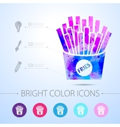 fries icon with infographic elements vector image