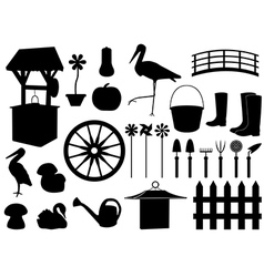 Garden decorations and tools vector image