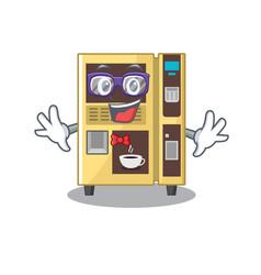 Geek coffee vending machine with cartoon shape vector