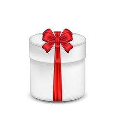 Gift box with red bow isolated on white background vector image vector image