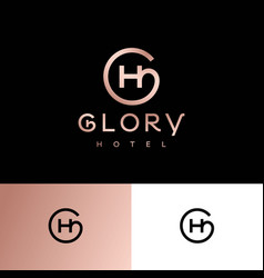 Glory hotel logo g and h monogram logo gold vector