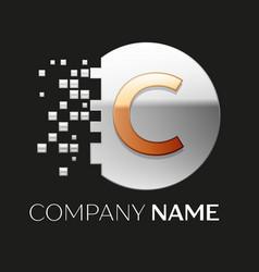 Golden letter c logo symbol in silver pixel circle vector
