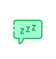 green cartoon speech bubble with zzz logo vector image