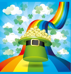 green hat with gold coins on a rainbow vector image