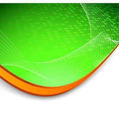 Green wave background with border vector
