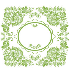 greenery russian floral frame background vector image