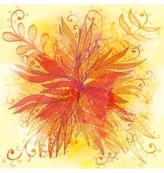 Grunge orange floral background vector