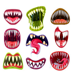 halloween monster mouths teeth and tongues set vector image