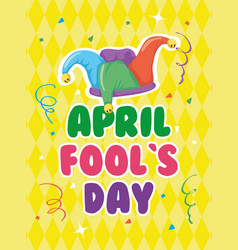 Happy april fools day card with lettering and vector