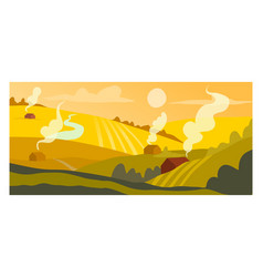 Harvest crops concept sowing field countryside vector