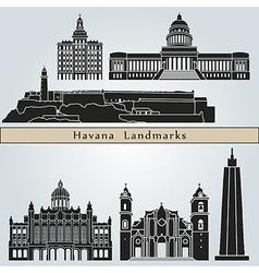 Havana landmarks and monuments vector