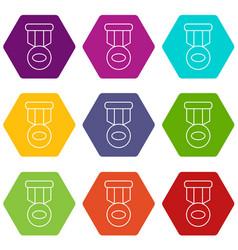 Hockey medal icons set 9 vector