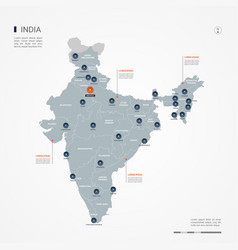 india infographic map vector image