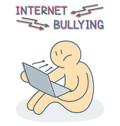 internet bullying concept - sad victim sitting vector image