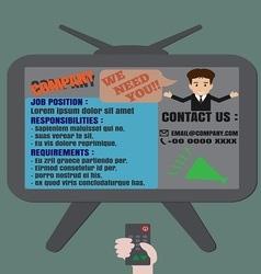 Job finder TV advertisement vector image vector image