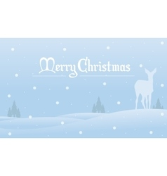 Merry christmas winter landscape of silhouettes vector