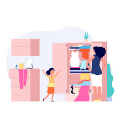 Mess in kids room happy girl serious mom vector