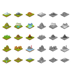 Mountains massive cartoonmono icons in set vector