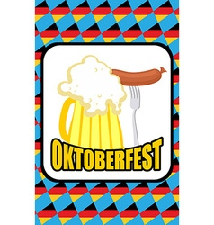 Oktoberfest Mug of beer and Sausage on a vector