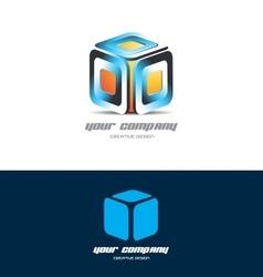 Orange blue 3d cube logo icon design vector image