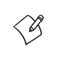 Pencil and document sketch icon vector