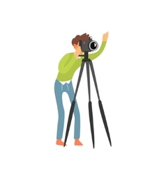 Photographer Taking Photo With Tripod vector image