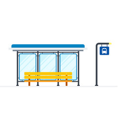 public bus stop flat material design isolated vector image