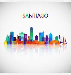 Santiago skyline silhouette in colorful geometric vector