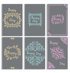 Set cards frame monogram linear emblem vector image