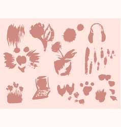 set hand drawn brushes and design elements vector image