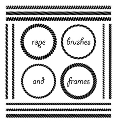 set of rope brushes and frames vector image