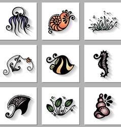 Set sea animals icons vector