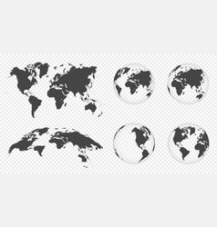 Set transparent globes earth world map vector
