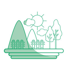Silhouette mountains with grid wood and trees vector