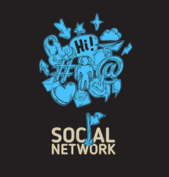social network poster design with isolated vector image