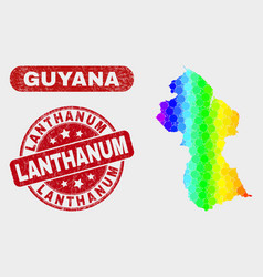 spectral mosaic guyana map and scratched lanthanum vector image
