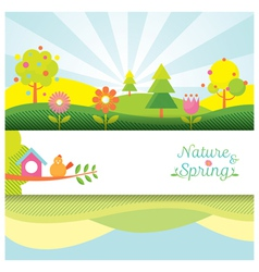 Spring Season Object Icons Banner and Background vector image vector image