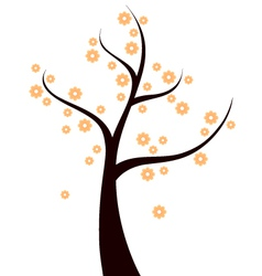 Spring Tree with orange flowers isolated on white vector image