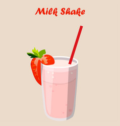 strawberry milk shake vector image