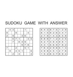 Sudoku game with answer puzzle game with numbers vector