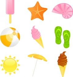 summer beach icon set illustration vector image