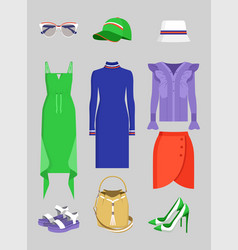 Summer mode set clothes and vogue accessories vector