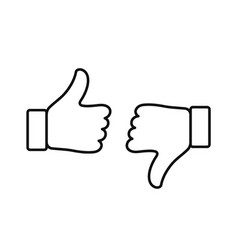 thumb up and down outline icon vector image
