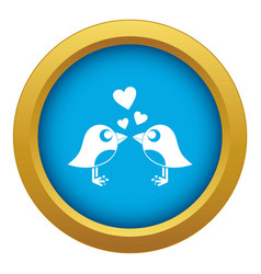 two birds with hearts icon blue isolated vector image