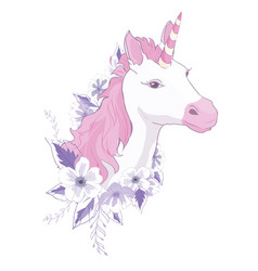 unicorn head with mane and horn on floral vector image