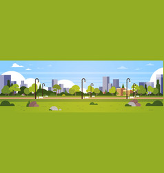 urban park outdoors city buildings street lamps vector image