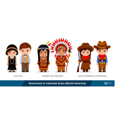usa 20s american indians usa cowboy and cowgirl vector image